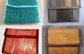 Cartera / Monedero hecho de pasto, madera, coque-etiquetas y lona