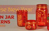 Año nuevo chino linternas del tarro de masón