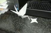 Sola hoja Origami Grúa y lanzar estrellas