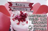 Pastel de aniversario en explosión caja