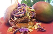 Humo no tirado carne de cerdo en salsa BBQ de Mango con naranja con sabor a ensalada de col