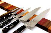 Tira magnética de cuchillo arco iris madera