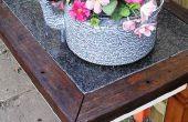Mesa jardín con tapa de piedra dura (todos los materiales de volver a utilizarse)