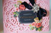 Como hacer tarjeta de cumpleaños marco ornamentado Vintage rosa