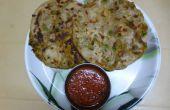 Relleno Paratha con guisantes verdes - patata Masala