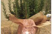 Cobertura vegetal y el sostenedor de vela festiva de vacaciones