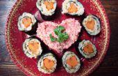 Sushi de San Valentín - una adición de sushi vegano comida o bento.
