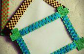 BRICOLAJE papel tejido-marco de fotos / imán de nevera.