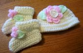 Recién nacido sombrero de flores con botines