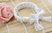Diseño de la joyería de la boda-como hacer una pulsera de brazalete blanco perla encaje para novia