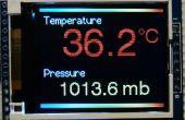 """Lecturas del sensor de temperatura y presión de Arduino BMP180 en un 1.8"""" TFT pantalla a color"""