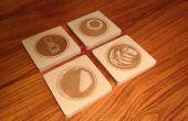 Divertidos posavasos de madera con cortador laser