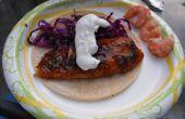 Tacos de pescado cítrico picante (tablón de cedro)