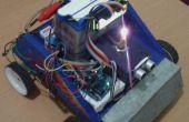 Utiliza un sensor ultrasónico robot carro funcionando con batería de la motocicleta con pantalla LCD