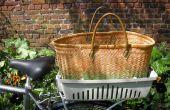 De compras locales en bicicleta con media una gato portador de cesta