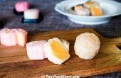 Mooncake de la piel con flan chino de hielo