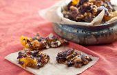 Frágil de tocino picante con anacardos y albaricoques chocolate