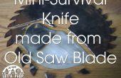 Cuchillo supervivencia pequeño hecho de una hoja de sierra vieja - Jimmy Diresta inspirado
