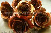 Escultura de arte, el cobre y el acero de rosas de metal