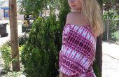 Elegante vestido de verano con una camiseta para el patrón de