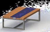 Mesa madera vidrio con LED