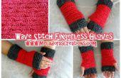 Uñeta de onda menos guantes – patrón Crochet