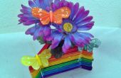 Popsicle Stick florero - arcoiris