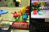 Jardín de tulipanes de origami con puede Pot