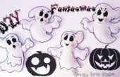 4 fantasmas de Foamy o EVA para Halloween   DIY   para de eva de---4 Fantasmas de Foamy o goma Halloween   BRICOLAJE  