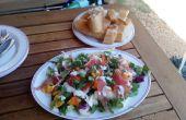 Ensalada de melocotón y camping Serrano Ham