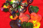 Reciclado de crayolas para el arte infantil de la día de San Valentín