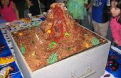 Pastel volcán en erupción