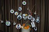 Árbol de Halloween y candelas