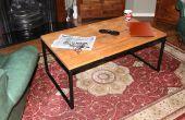 Acero y plataforma de madera mesa de centro