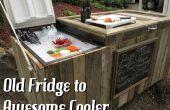 Impresionante rústico enfriador refrigerador roto y paletas