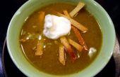 Pollo, Chile verde, sopa de Tortilla