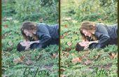 Antes y después de editar una imagen sencilla en Photoshop