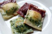 Gluten-libre tricolores raviolis con calabaza asada, garbanzos, ajo asado y cebolla caramelizada