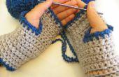 Cómodo fácil Crochet guantes sin dedos