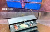Restaurar una oxidada caja vieja con chorro de arena y capa del polvo