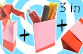 Origami florero, sostenedor de la pluma y caja de regalo (3 modelos en 1 tutorial)