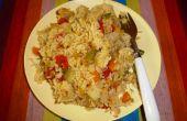 Un bien equilibrada dieta nutritiva: Pressure-Cooked arroz con lentejas y verduras