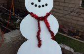 Simple decoración de césped de muñeco de nieve de madera