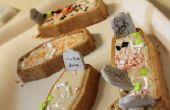Coco vainilla Cupcakes de ataúd de Halloween con mantequilla crema de glaseado