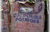 Delantal de bolsa de arpillera reciclado