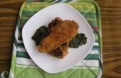 Al vapor de carne de pollo con salsa de espinacas (innovación paquistaní)