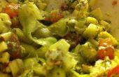 Crudivegana molleras de calabacín con salsa Pesto de albahaca