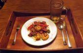 NUEZ ahumada salchicha y camarones en salsa de mostaza criolla con pimientos y cebollas