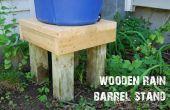 Stand de barril de lluvia de madera