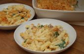 Impresionantes macarrones de queso con panceta y espinacas